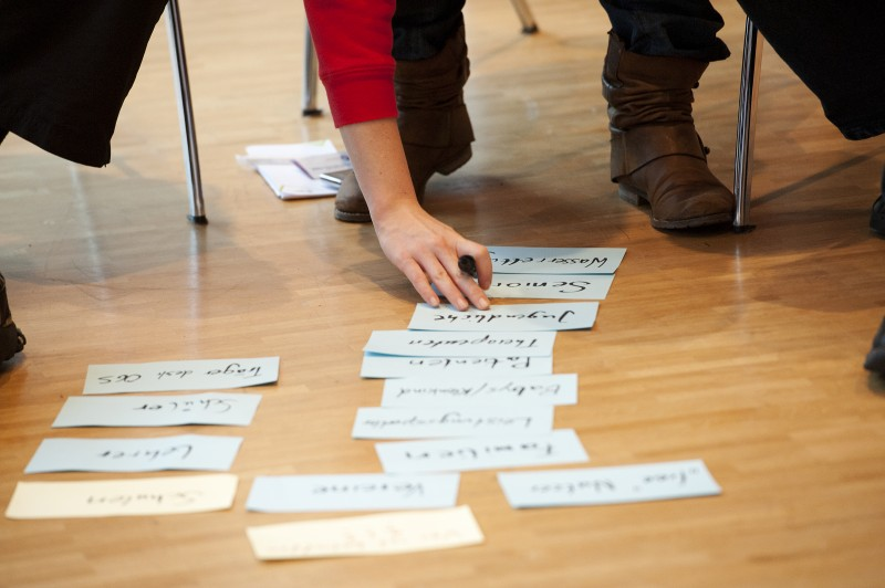 Moderationskarten auf dem Boden